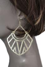 Damen Mode Ohrringe Satz Groß Gold Metall Ethnisch Stilvoll Fans Charm O... - $23.82
