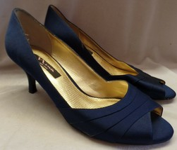 Nina Blue Satin Open Toed Heels Sz 9.5 Quality Well Made Shoe Pre Owned - $34.65