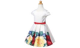 Girl's Princess Floral Printing Ruched Dress - $25.55