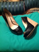 Jessica Simpson Bethani 8M Women's Black Patent Wedge Open Toe Shoes Mrsp $119 - $59.39