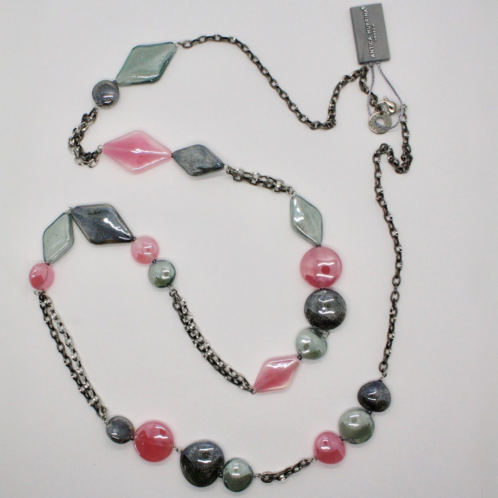 ANTICA MURRINA VENEZIA NECKLACE WITH MURANO GLASS PINK GRAY BLACK BEIGE COA85A45