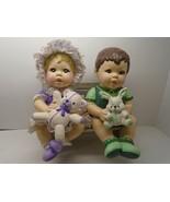 CERAMIC Boy Holding a Bunny & Girl Holding a Bear, Both Sitting on a Ben... - $22.76
