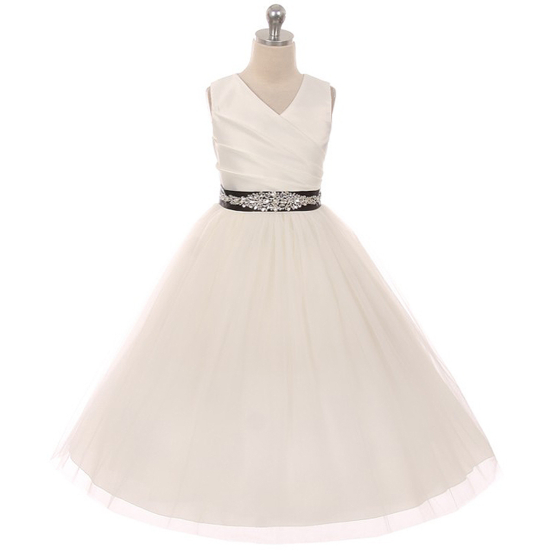 Primary image for Ivory Sleeveless Spinning Satin Illusion Skirt Black Sash with Rhinestones Dress