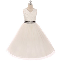 Ivory Sleeveless Spinning Satin Illusion Skirt Black Sash with Rhinestones Dress - $52.95