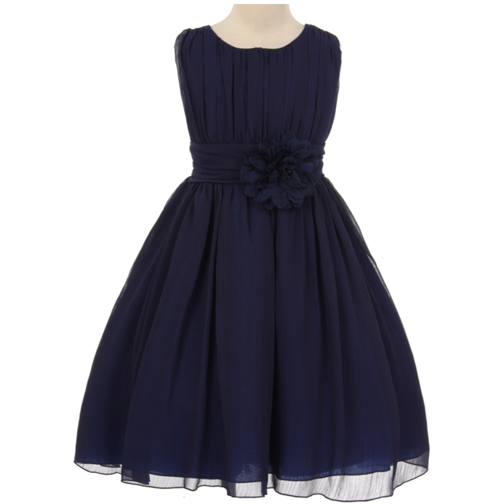Primary image for Navy Blue Yoryu Chiffon Flower Girl Dresses Birthday Bridesmaid Pageant Wedding