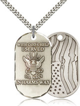 Men's Bliss Sterling Silver Navy Military Medal Pendant Necklace  M22SS6/24S - $96.00