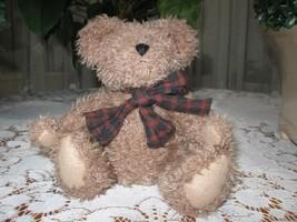 Boyds Brown Teddy Bear Plush Jointed Plaid Bow 9 Inch J.B. Bean Series 1999 - $28.85