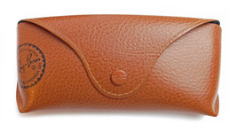 Ray- Ban Light Brown Leather Snap Over Style  Sunglass Case - $11.39
