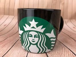 Starbucks Black Ceramic Mug Green Mermaid Siren Logo 14 Ounces New Gift - $11.30