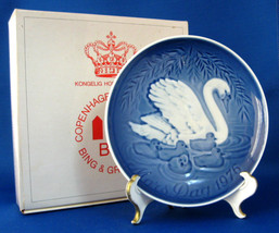 Bing And Grondahl Mother's Day 1976 Plate Swan And Babies Blue And White MIB Box - $18.00
