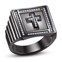 Black Gold Plated 925 Silver Round Cut White CZ Christian Religious Cross Ring - $109.20