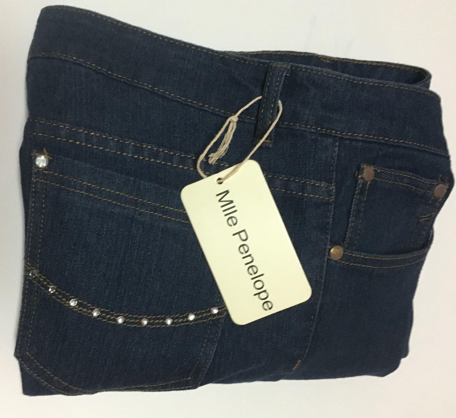 MLLE Penelope Women's Blue Jeans SZ 12 NWT Dark Blue Rhinestone Accent