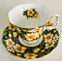 Royal Albert Bone China Cup & Saucer Diana Yellow Flowers Made in England - $21.76