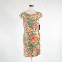 Olive green orange floral print TAHARI cap sleeve sheath dress 10 NWT - $49.99