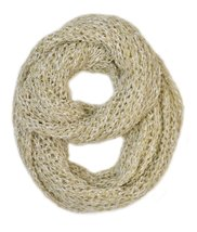 Le Nom Wavy Ribbed Crochet Knitted Infinity Scarf (Beige) - $12.86