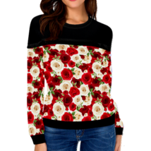 Rose Garden: Red & White Roses Womans Pull Over Sweat Shirt,Christmas Gift - $45.00