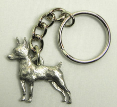 Miniature Pinscher Dog Keychain Keyring Harris Pewter Made USA Key Chain... - $9.48