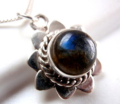 Labradorite Necklace with Rope Style Accents 925 Sterling Silver New - $21.73