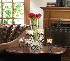 Stunning Scrollwork Candle Stand with 8 Glass Cups Vase in Center Centerpiece - $35.95