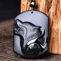 Natural Black Carving Wolf Head Amulet pendant necklace obsidian - $17.88