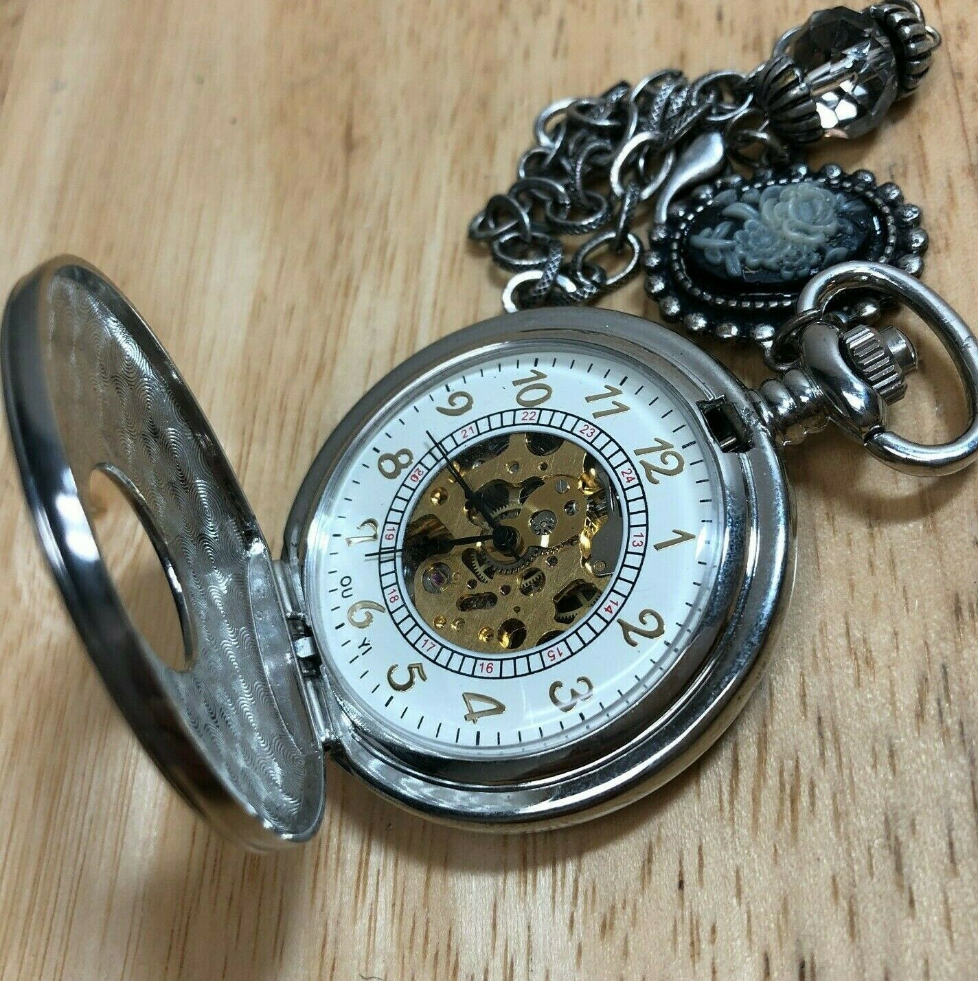 Primary image for OUYI Mens Silver Skeleton Half-Hunter Hand-Winding Mechanical Pocket Watch Hours