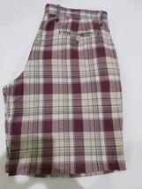 Mens Gap Plaid Burgundy Flat Front Shorts Size 36 - $8.99