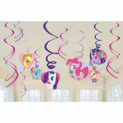 My Little Pony Friendship 12 pc Hanging Swirl Decorations set