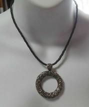 Vintage LIA SOPHIA Rhinestone Wreath Style Necklace W/Leather Cord - $18.99