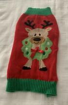Reindeer Wreath Design Dog Christmas Sweater Warm Winter Wear LARGE Simp... - $10.99