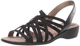 LifeStride Women's Tender Flat Sandal, Black, 10 W US - $46.69