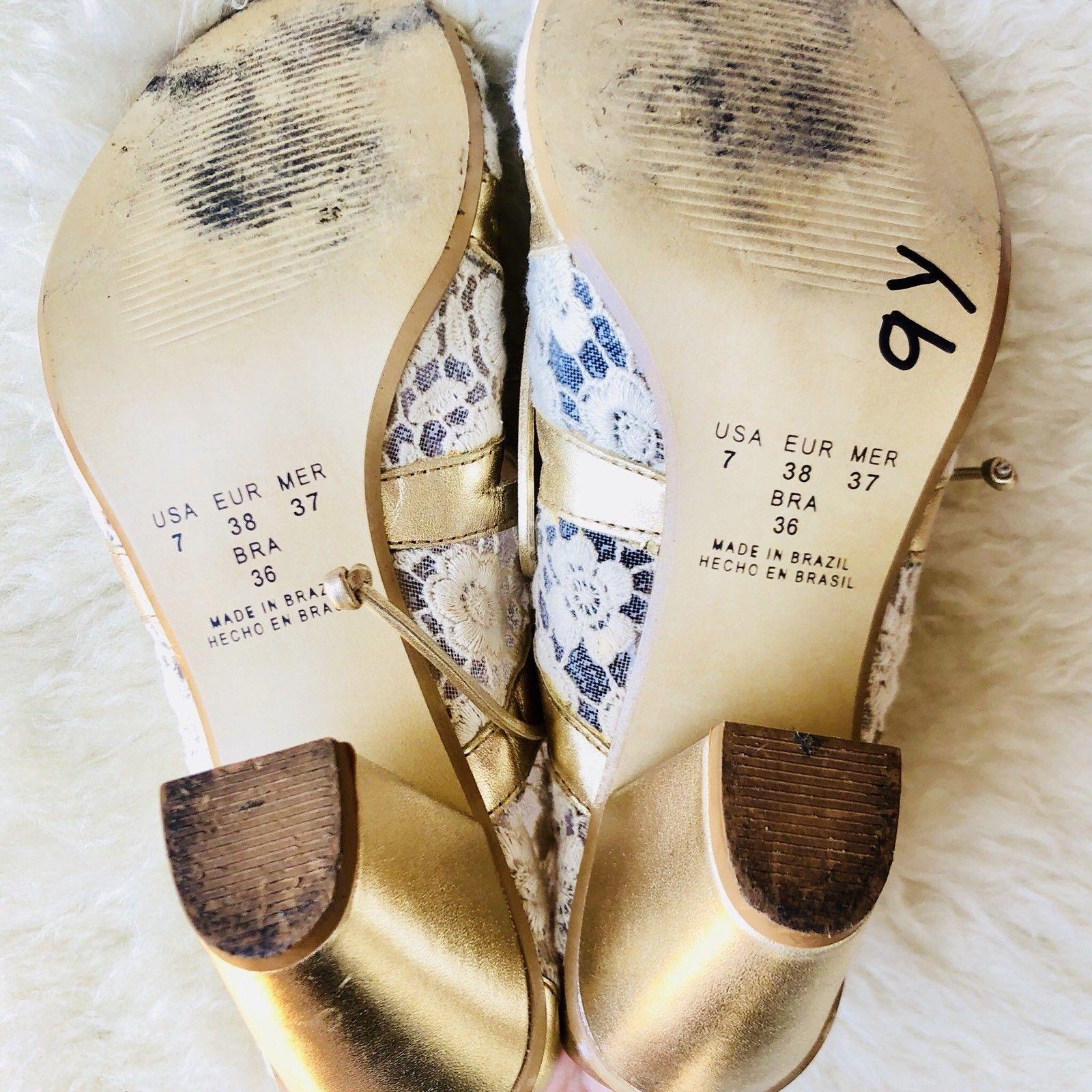 KLUB NICO Anthropologie Metallic Gold Lace Strappy Peep Toe Heels Brazil Sz 7