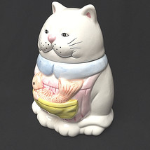 Cat And Fish Cookie Jar Water Color Paint Looking Collectible - $27.72