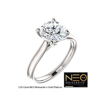 PLATINUM 2.00 Carat NEO Round Diamond Cut Solitaire Ring (with NEO warra... - $1,695.00