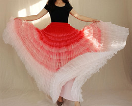 Bridal Tiered Tulle Skirt Outfit A-line Full Tulle Wedding Party Skirt,Red white image 3