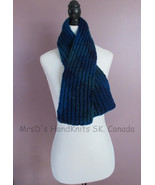 Short Scarf Variegated Blue Mix Childrens 39 inch Knitted Scarf - $20.00