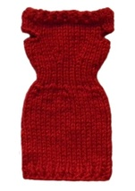 Barbie Doll Clothes Knit Red Off Shoulder Sweater Dress Handmade - $6.49