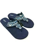 Mixit Womens Blue Rhinestone Platform Wedge Sandal Flip Flops Size 6 NWT - $16.12