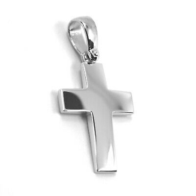 SOLID 18K WHITE GOLD CROSS, SQUARE ROUNDED 18mm, 0.71 inches, MADE IN ITALY