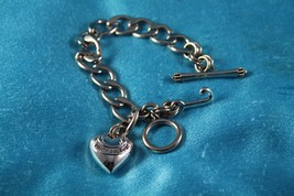 Authentic JUICY COUTURE Silver Logo  J Heart Starter Charm Bracelet Toggle - £20.07 GBP