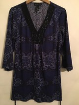 INC blue-gray slinky print TUNIC TOP. Bling around neckline. Misses Large. - $15.99