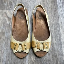 Lucky Brand Peep Toe Sling Back Leather Flats Size 7 - $24.74