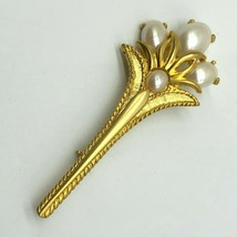 Park Lane Brooch Pin Faux Pearl Floral Bouquet Flowers Gold Tone Vintage... - $31.68