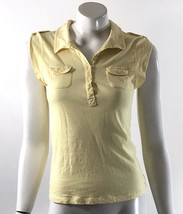 Mossimo Tank Top Size Small Yellow Sleeveless Roll Tab Sleeve Polo Shirt Womens - $6.43