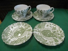 "Johnson Bros.Ironstone ""Paisley"" Made in England  2 CUPS & SAUCERS & 2 F... - $17.41"