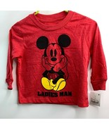 Disney Mickey Mouse 12M Toddler Long Sleeve T-Shirt - Red Ladies Man NEW - $9.25