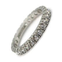 18K WHITE GOLD ETERNITY BAND RING, WHITE CUBIC ZIRCONIA, THICKNESS 3 MM image 1