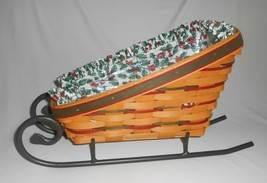 Longaberger Christmas Large Holiday Sleigh Basket 1997 Wrought Iron Runners - $33.25