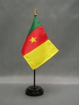 "CAMEROON 4X6"" TABLE TOP FLAG W/ BASE NEW DESK TOP HANDHELD STICK FLAG - $4.95"