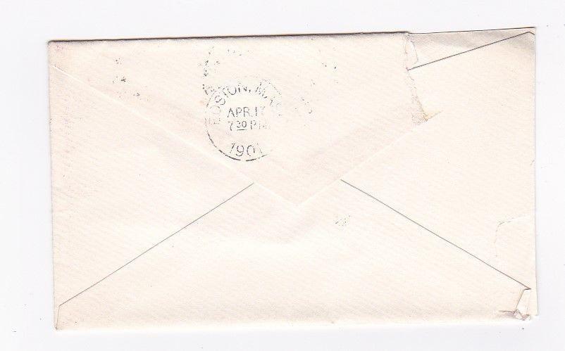 MATTAPOISETT, MASS. APRIL 17 1901 ON 2C RED WASHINGTON SMALL ENVELOPE