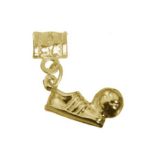 Soccer Ball shoe Player Solid 24K Gold Plated football team charm bead 3... - $22.49